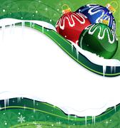 christmas balls decoration on a green background - stock illustration