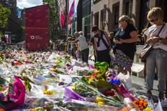 Flower memorial after deadly Sydney hostage siege in Martin Place - stock photo