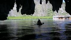 Sea canoe cave silhouette Thailand Stock Footage