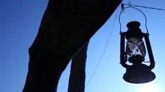 Old kerosene lamp at tree - stock footage