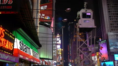Lights, Times Square and police booth Stock Footage