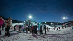 People go to queue on ropeway in ski resort Stock Footage