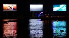 Propaganda / Advertisement Billboards Banks of  Saigon River - Ho Chi Minh City Stock Footage