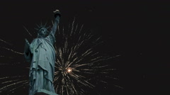 Statue of Liberty with Fireworks 4K Stock Footage
