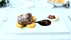 Grilled Beef Stake Food Dinner Luxury Restaurant Roasted Dish Tasty Bbq Protein Stock Footage