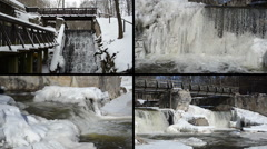 Brook waterfall cascade retro bridge frozen ice icicles winter Stock Footage