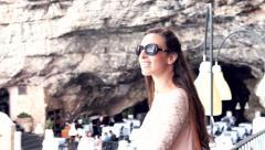 Luxury Five Star Hotel Restaurant Woman Standing View Sea Rocks Cliffs Cafe Stock Footage