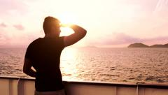 Young Man See Searching Salvation Land Island Ship Spiritual Inspirational God Stock Footage