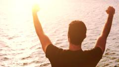 Success Young Man Successful Happy Outstretched Arms Vacation Freedom Travel Joy Stock Footage