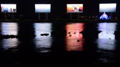 Time Lapse - Propaganda Billboards - Saigon River - Ho Chi Minh City Stock Footage