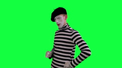 The mime boy suspects something Stock Footage