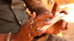 Male Model hands with cell phone Stock Footage