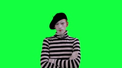The mime boy laughs hysterically Stock Footage