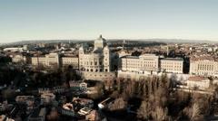 Aerial View of Berne Bundeshaus Stock Footage