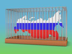 russia in cell - stock illustration