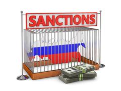 russia  in a cell - stock illustration