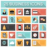 Flat 25 business and marketing web icons. Stock Illustration