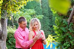 Couple weds at messages in your mobile phone Stock Photos