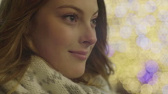 Young beautiful woman staring at the horizon Stock Footage