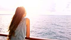 Beautiful Young Woman Cruise Ship Searching For Land New Opportunity Success Stock Footage