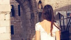 Beautiful Fairy Tale Medieval Princess Bride Dress White Purity Walking Castle - stock footage