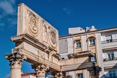Roman forum and modern building contrast Stock Photos