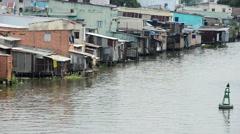 Time Lapse of Water and Shacks on the Saigon River - Ho Chi Minh City (Saigon) Stock Footage