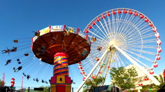 Chicago Carousel & Ferris Wheel No.2 - stock footage