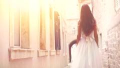 Gorgeous Beautiful Young Princess Vintage Dress Bride Walking Into Sunlight - stock footage