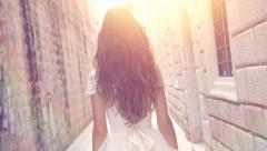 Young Beautiful Bride Princess Walking Ancient Town Street Castle Fort Sun Lens Stock Footage