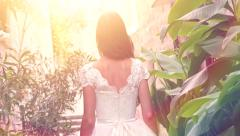 Princess Woman Girl Female Bride Fairy Tale Vintage Dress Walking Garden Exotic - stock footage