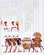 Pharaoh's entourage and a group of soldiers - stock photo