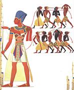 Wall of the temple in Abu Simbel, painted on the wall Stock Photos
