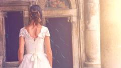 Gorgeous Fairy Tale Vintage Bride Dress Woman Walking Princess Sun Flare Arkistovideo