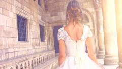 Innocence Purity Concept Young Princess Woman Bride  White Vintage Dress Walking Stock Footage