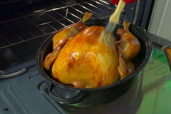 Chef basting turkey in roaster Stock Footage