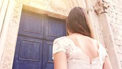 Beautiful Fairy Tale Princess Bride Walking Stairs Church Door Medieval Fantasy Stock Footage