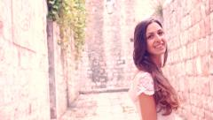 Gorgeous Young Bride Walking In Medieval Old Town Smiling Beauty Princess Stock Footage