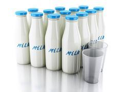 3d illustration. milk bottles and glass on white background - stock illustration