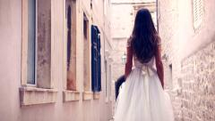 Gorgeous Beautiful Young Princess Vintage Dress Bride Walking Into Sunlight Stock Footage
