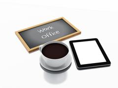 3d chalkboard, cup of coffee and tablet pc. work office concept - stock illustration