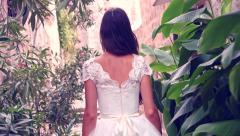 Princess Woman Girl Female Bride Fairy Tale Vintage Dress Walking Garden Exotic Stock Footage