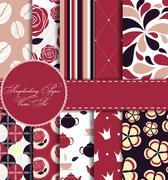 Set of Beautiful Vector Paper for Scrapbook - stock illustration