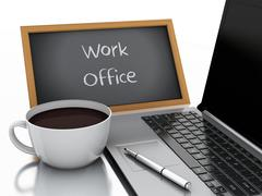 3d chalkboard, cup of coffee and laptop pc. work office concept - stock illustration