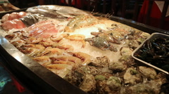 Seafood in ice restaurant Stock Footage