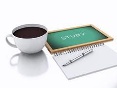 3d notepad and cup of coffee. study concept on white background Stock Illustration