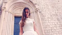 Gorgeous Beautiful Young Princess Bride Walking Down Medieval Architecture Town Stock Footage