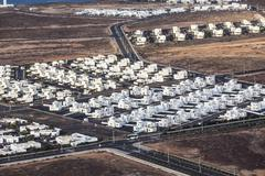 Settlement of new houses all in same style Stock Photos