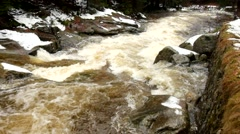Rapid stream. Spring river full of water from mountains. Noise of huge of water. Stock Footage
