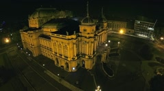 Croatian national theater building in Zagreb - aerial shot Stock Footage
